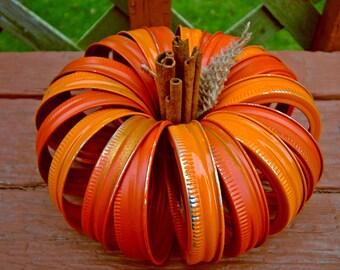 Mason Jar Lid Pumpkin with Cinnamon Stick Stem