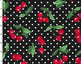 Retro Florals Cherry Dot Fabric - Black (Betty Tula Fabric) - sold by the 1/2 yard