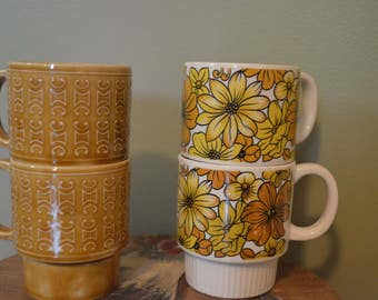 Vintage Stacking Mugs Made in Japan, set of 4