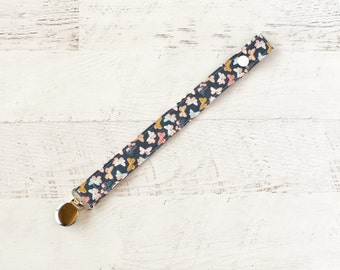 Pacifier Clip-Navy-Butterflies-Soother Clip- Paci Clip- Binky Clip