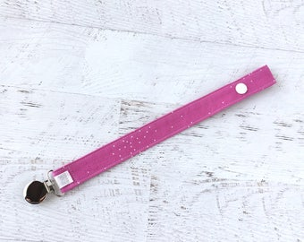 Pacifier Clip-Bright Pink-Soother Clip- Paci Clip- Binky Clip