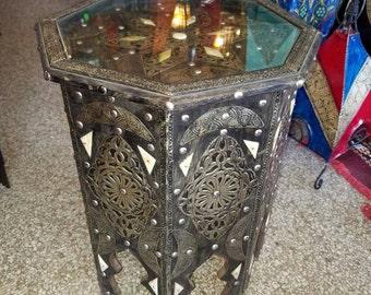 Moroccan Metal Inlaid Side Table - Camel Bone
