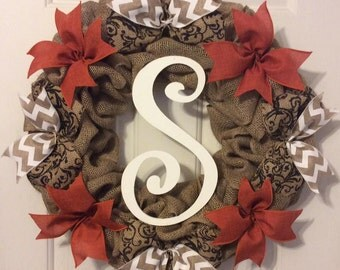 Burlap Fall Wreath with Initial