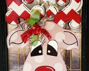 Rudolph Door Hanger LARGE, Reindeer Door Hanger, Christmas Wreath, Christmas Door Hanger