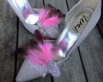Wedding shoe clips, bridal shoe clips, feathered shoe clips, Gatsby shoe clips