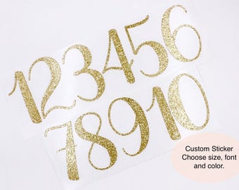Customizable Glitter Number Stickers | Gold Glitter Number Stickers |  Glitter Wedding Table Numbers