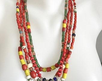Mix beads necklace, Tibetan necklace, Multi strand necklace, Himalayan beads necklace, Statement necklace,