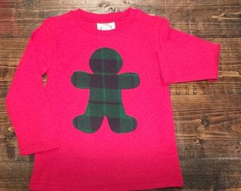 Sale:Gingerbread Shirt 2T, Boys Christmas Shirt 2T, ready to ship Christmas shirt 2T, plaid gingerbread appliqué