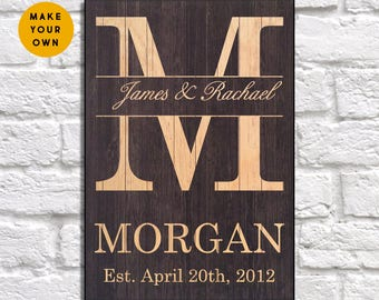 Rustic wedding gift Family Wood sign Mens gift Personalized Bridal shower gift for couple 5th Anniversary gift for her Panel effect Wood art