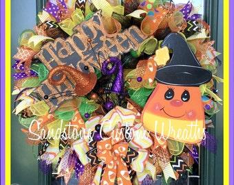 Halloween Wreath, Candy Corn Wreath, Happy Halloween Wreath, Candy Corn witch wreath, Candy corn witch, Halloween Decoration, mesh Halloween