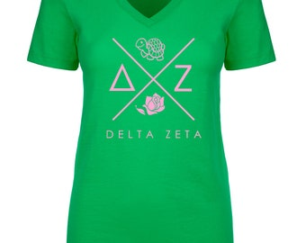 Delta Zeta Infinity V-Neck Shirt - Soft Pink Print (unless noted otherwise)