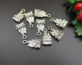 10PCS,21x11mm,3D Silver Castle Charms,2 Sided-p1015-B