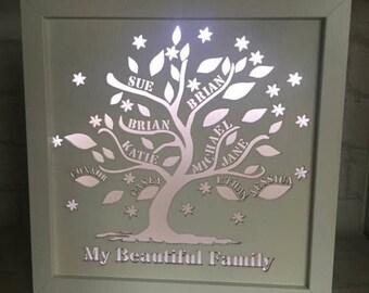 Personalised LED Light Up Night Light Wooden Family Tree New York Skyline New Baby Christening Valentines Wedding Mr Mrs Bride Groom Frame