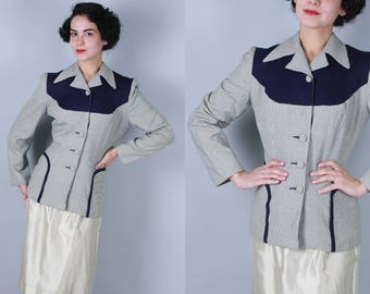 Vintage 1940s Jacket | Micro Houndstooth and Navy Blue Gabardine Pattern Color Block Two Tone Blazer | Medium
