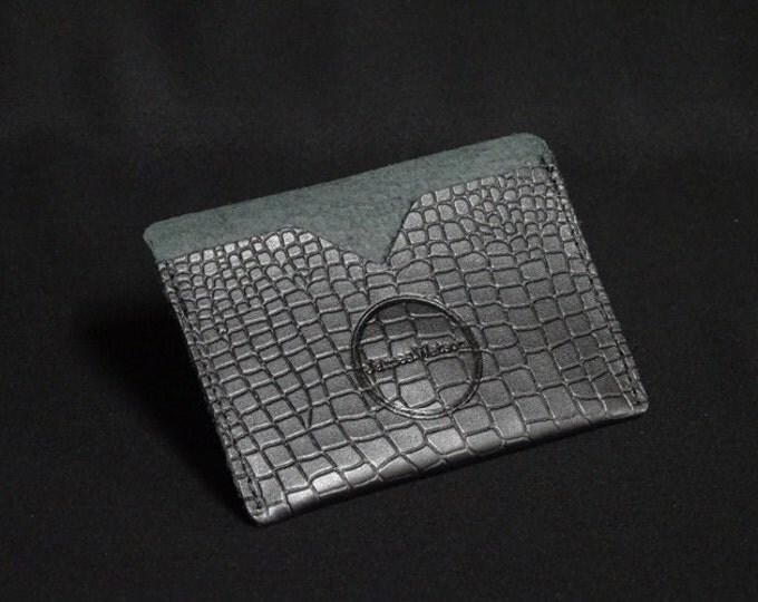 Pocket Wallet - Crocodile Texture - Kangaroo leather with RFID credit card blocking - Handmade - James Watson