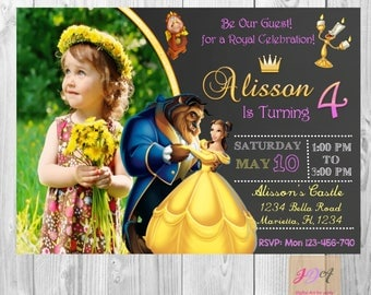 Beauty and the beast birthday invitations, beauty and the beast invitations digital file