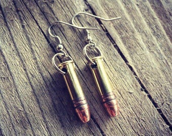 22 Bullet Earrings - Hook Earrings - Once Fired