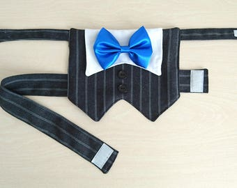 Dog Tuxedo, Dog Wedding Suit, Dog Formal Wear, Pet Vest for wedding/formal occasions with a Choice of Bow Tie Color