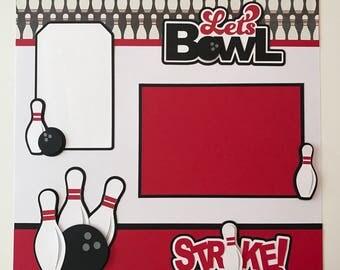 "Premade Handmade ""Bowling"" Scrapbook Page, Bowling, Bowling Ball, Bowling Pins, Scrapbook Layout"