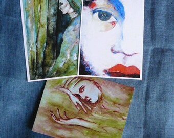 color postcards-forest green feminine face paintings watercolors