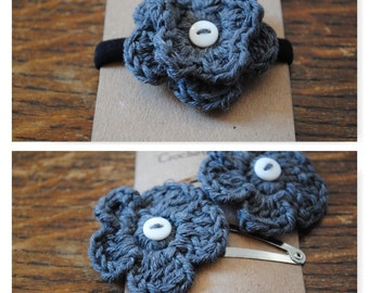 Grey flower hair tie and clip set