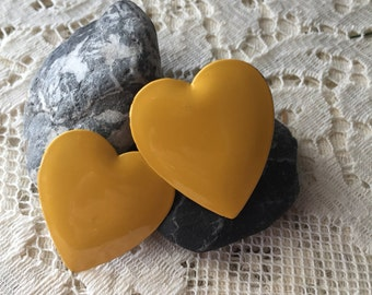 Yellow Heart Clip-on Earrings, vintage earrings