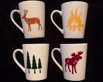 Set of 4 Cabin coffee mugs