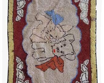 Hand made antique American hooked rug 1.8' x 2.8' ( 55cm x 87cm ) 1930s