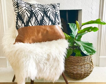 Modern Black and White Palm Leaf Pattern and Leather Pillow Cover