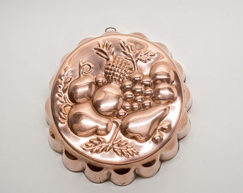 Vintage Copper Jello Jelly or Chocolate Mold with Fruit Design