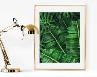 Banana leaf print, printable watercolor palm print, printable tropical print, watercolor monstera leaf, watercolor banana leaves wall art