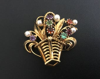 Vintage Retro 14kt Gold Flower Basket Brooch Pin Precious Stones Pearls