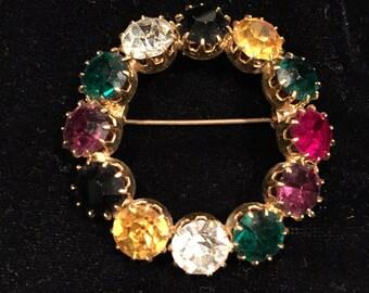 Gorgeous vintage rainbow Rhinestone brooch! Wonderful gift.