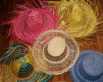 Straw hats, assortment of straw hats, vintage sun hats, hand woven straw hats, travel accessory, vacation, beach hat, cruise wear, spring