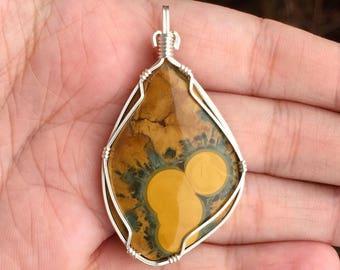 Kambaby ocean jasper pendant, Wire wrapped pendant, Sterling silver, Ocean jasper jewelry, Ocean jasper necklace