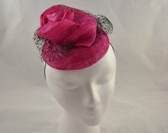 """Hot pink """"flower"""" fascinator with veiling"""
