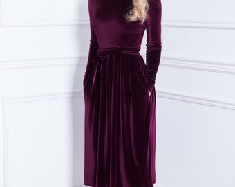 Dark Purple Velvet Midi Dress Long Sleeves Pockets