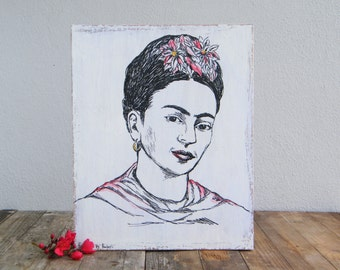 Frida Kahlo Tribute, Frida Kahlo Portrait, Wood Signs, Hipster room decor, Wood Wall Hanging, Room Decor Rustic, Art Print