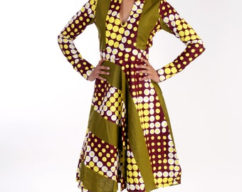 Therra - grean African doted printed  dress