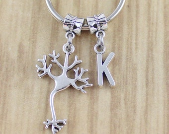 SRA 1685 Initial Neuron Keychain/Brain Cell Key Chain/Chemist Gift/Scientist Gift Geek Gift/Geekery Gifts For Mad Scientists Smart People