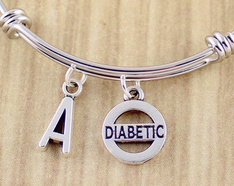 Initial Diabetic Bangle Bracelet | Diabetic Bracelet | Diabetes Bracelet | Popular Trendy Expandable Bangle Style Bracelet w. Diabetic Charm
