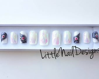Peacock Feather Iridescent Hand Painted false nails | Little Nail Designs