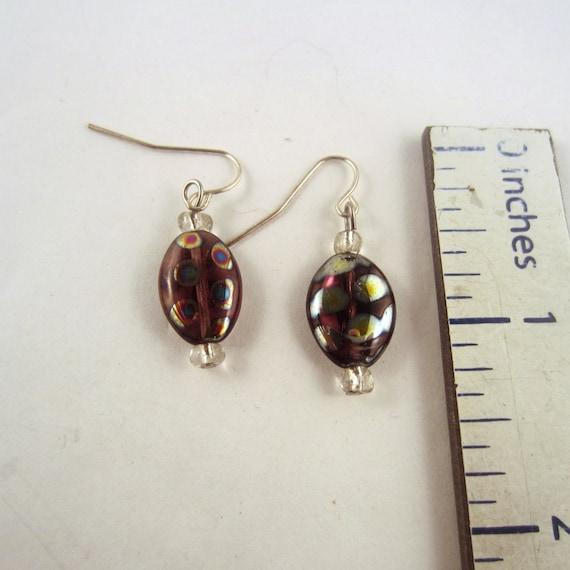 czech glass earrings purple