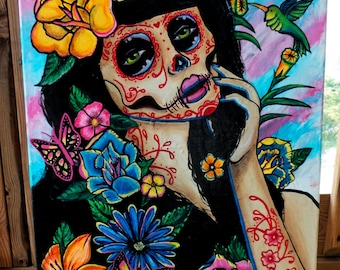 """Original painting """"Spring"""" acrylics on canvas, skull, girl, day of the dead, flowers"""