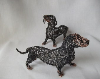 dachshund puppies wire sculpture.