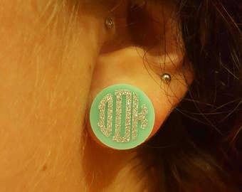 Glitter Monogram Earrings, 16 mm Glitter Monogram Earrings, Monogram Earrings, Monogram Earring Studs
