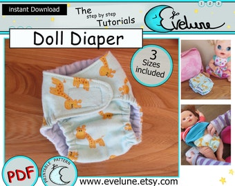 Baby doll diaper PDF/ English pattern / doll diaper / doll diaper pattern / children toys / doll accessories / DIY