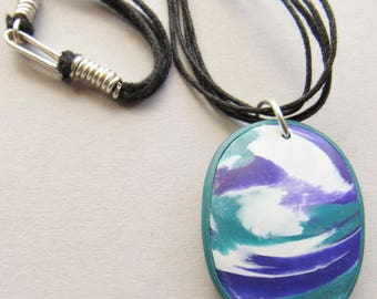 Purple, teal and white polymer clay pendant necklace