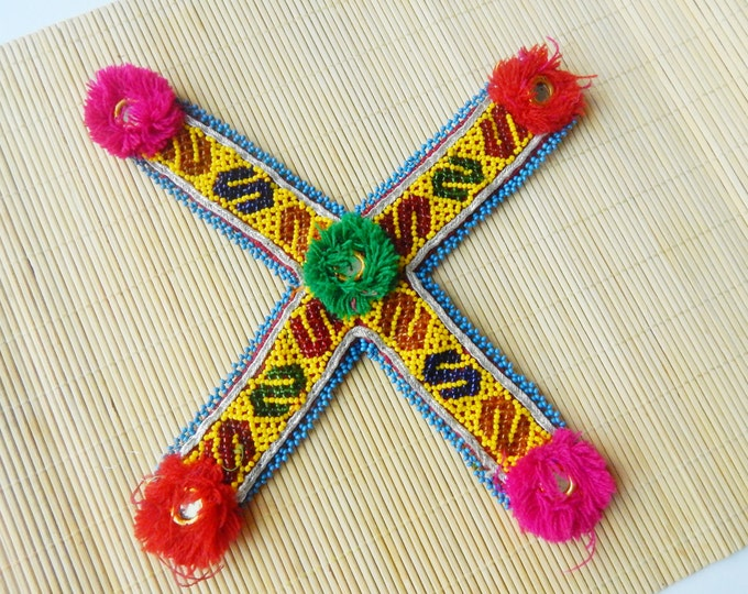 Kuchi beaded patch / costume patch / vintage embroidered cross / ethnic accessories / tribal ats application patch / handmade decoration