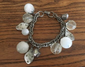 Coro Silver, Clear and White Moonstone Charm Bracelet 1095